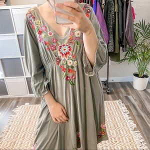 Johnny Was Green Maxi Bohemian Floral Embroidered Mid Sleeve Dress Size 2x